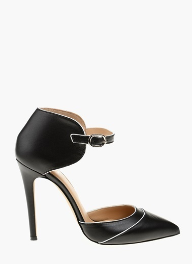Que Hakiki Deri İnce Topuklu Ayakkabı Siyah